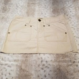 Express Light Tan Khaki Skirt w Embroidery